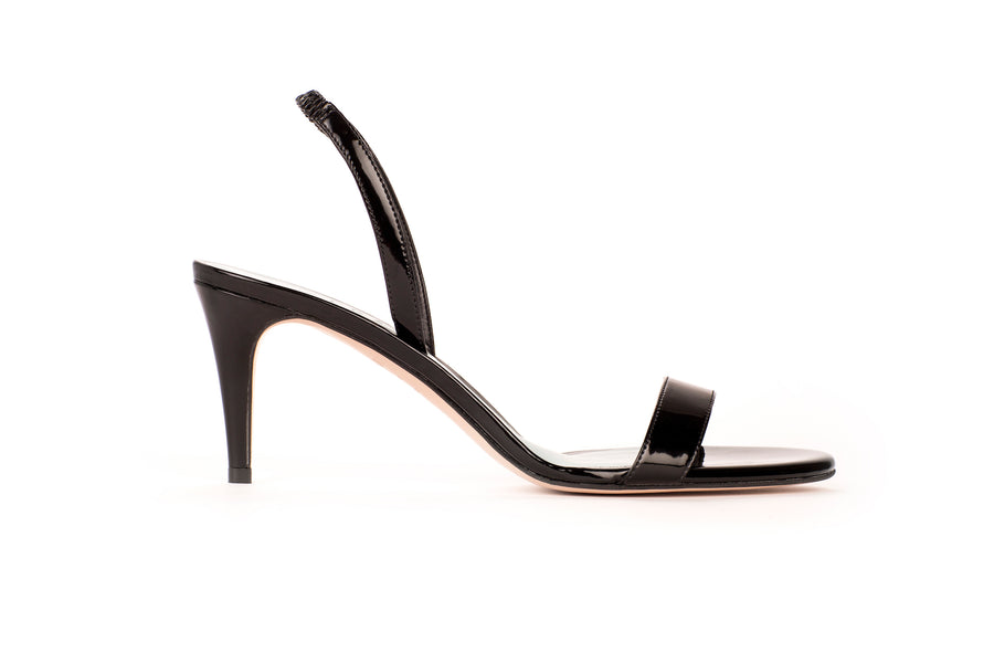 Sally Black Patent-Effect Vegan Heeled Sandal