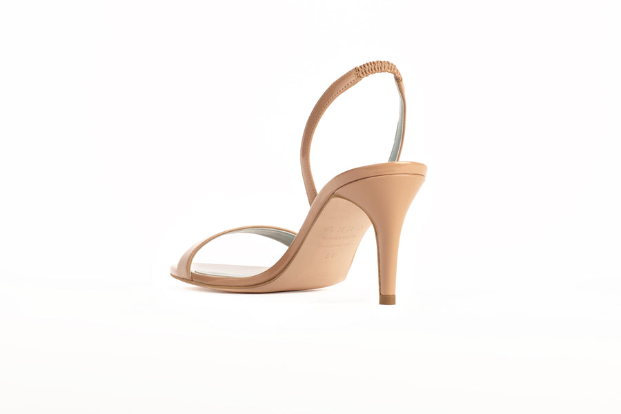 Sally Nude Patent-Effect Vegan Heeled Sandal