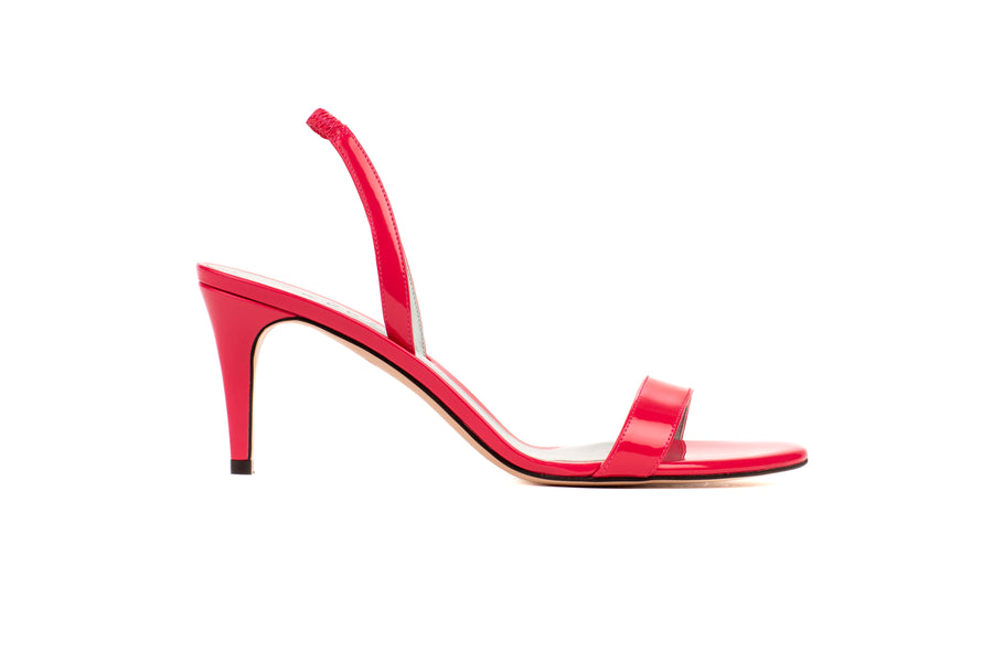 Sally Fuchsia Patent-Effect Vegan Heeled Sandal