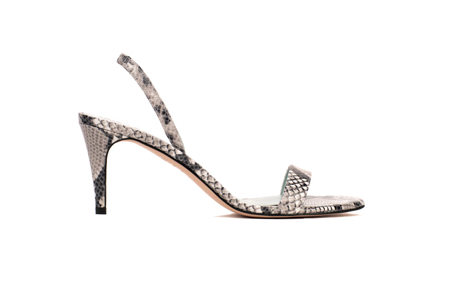 Sally Natural Python-Effect Vegan Heeled Sandal