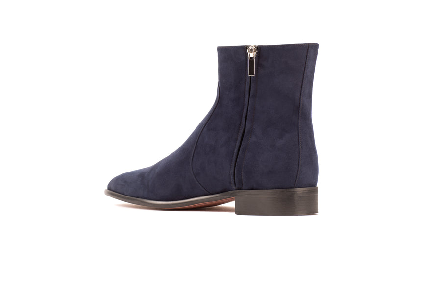 Franky Navy Suede-Effect Vegan Boot