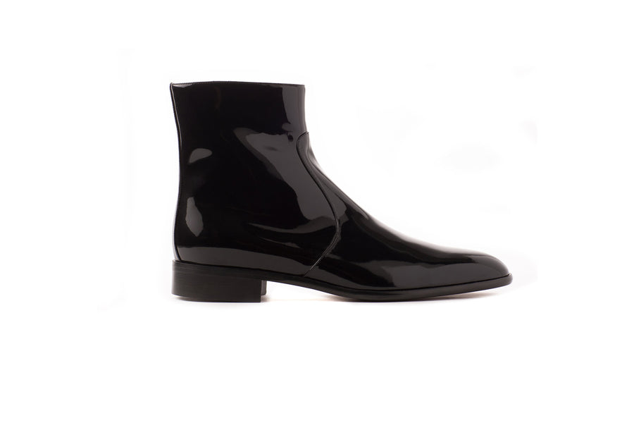 Franky Black Patent-Effect Vegan Boot