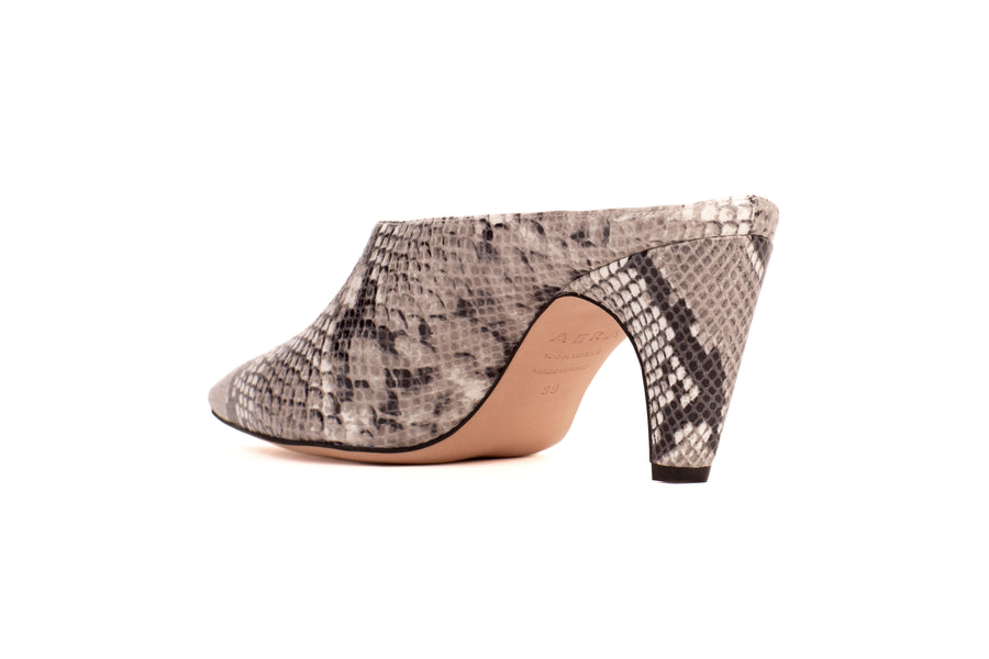 Blondie Natural Python-Effect Vegan Mule