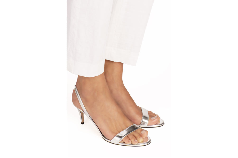 Sally Silver Mirror Vegan Heeled Sandal