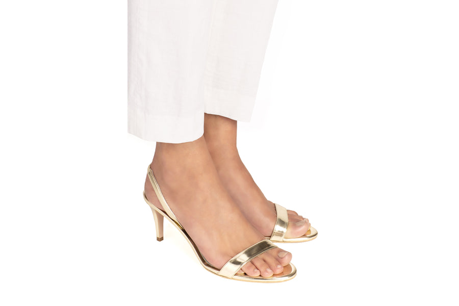 Sally Gold Mirror Vegan Heeled Sandal
