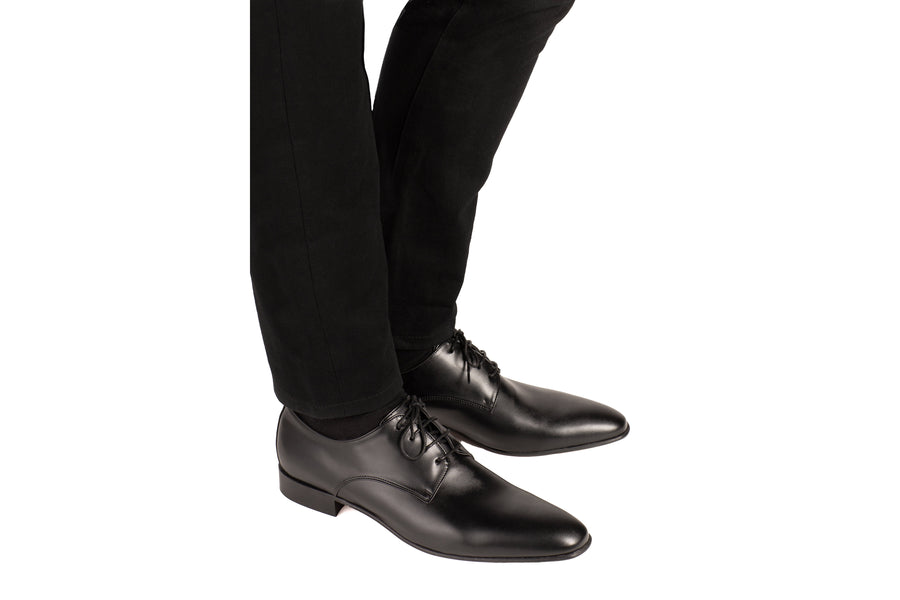 Maxwell Black Calf-Effect Vegan Derby