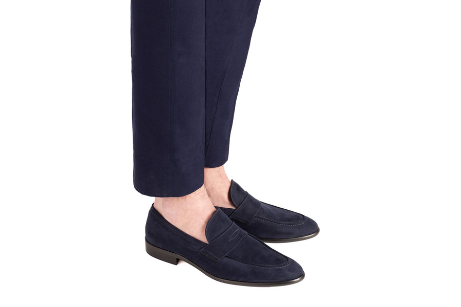 Alvertos Navy Suede-Effect Vegan Loafer