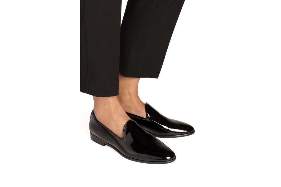 Tina Black Patent-Effect Vegan Loafers