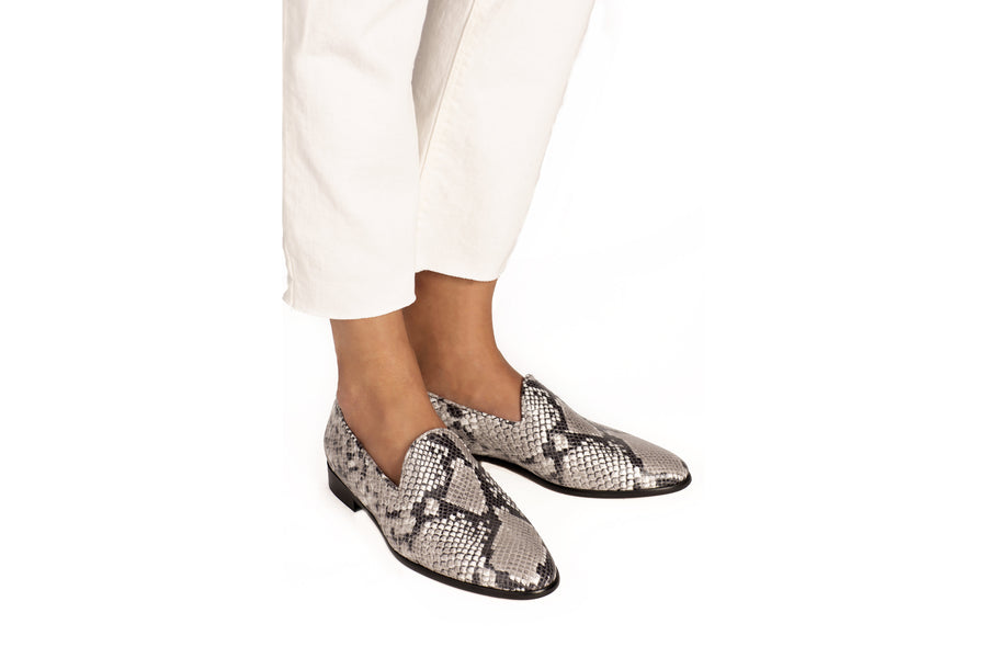 Tina Natural Python-Effect Vegan Loafers
