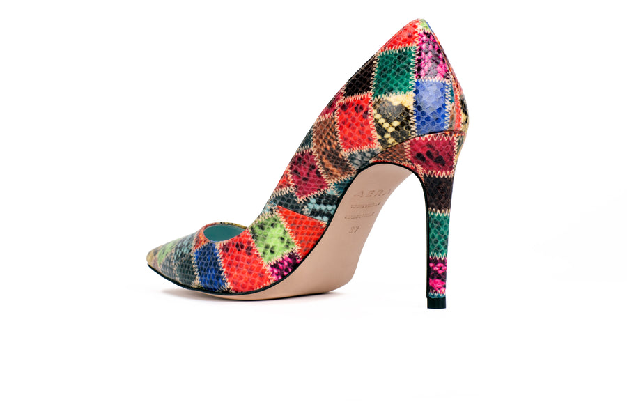 Olivia Patchwork Python-Effect Vegan Pump