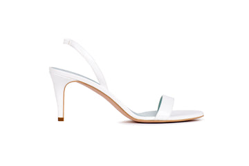 Sally White Patent-Effect Vegan Heeled Sandal