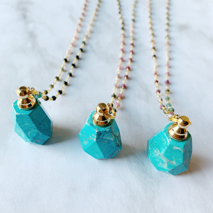 Turquoise Vial w/ Watermelon Tourmaline Chain