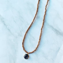 Black Druzy + Bayong Wood Diffuser Necklace
