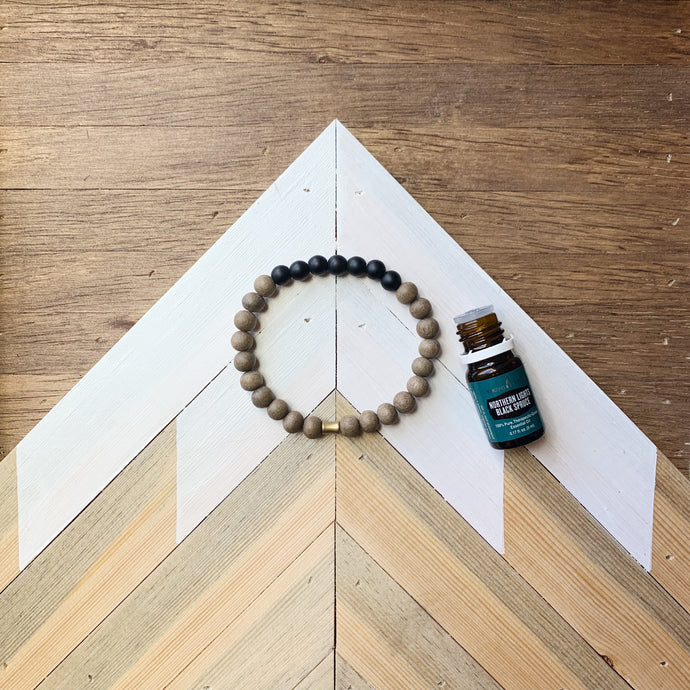 Men's Black Onyx + Greywood Diffuser Bracelet
