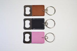 Leatherette Keychain with Bottle Opener