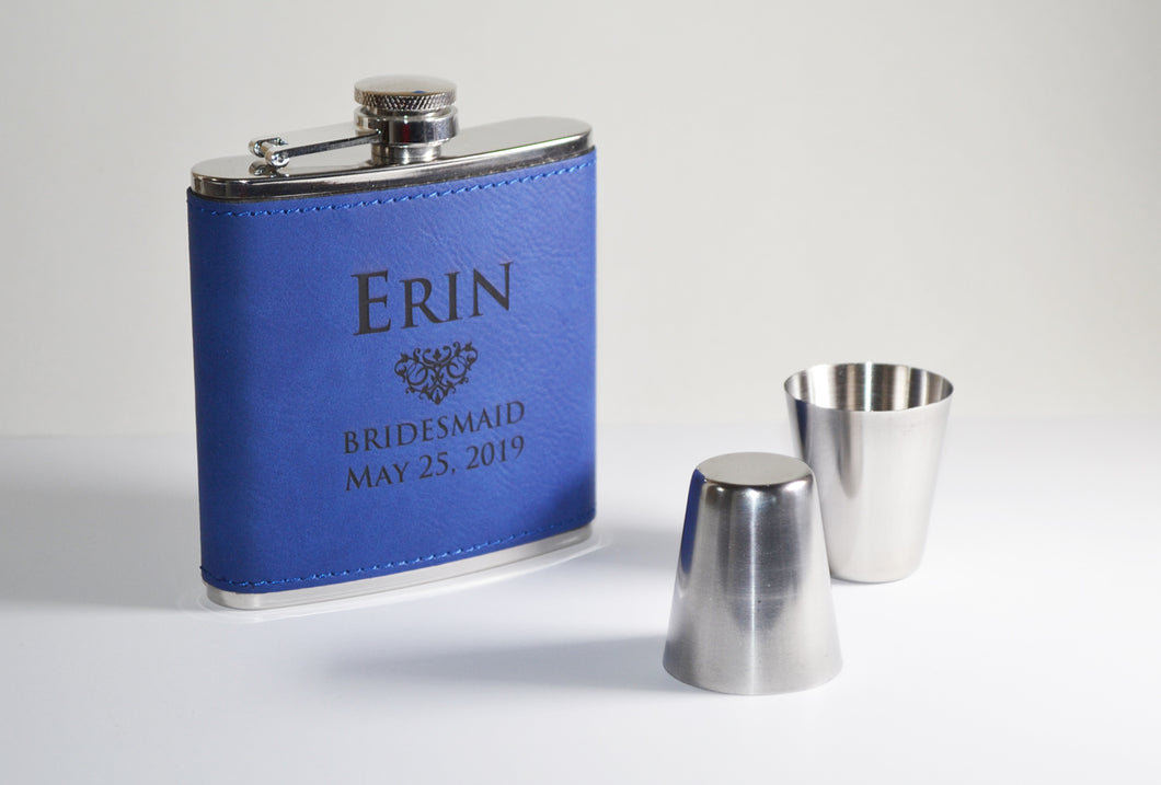 Leatherette Wrapped 6 oz Flask
