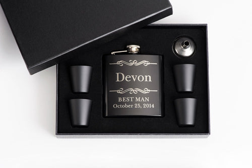 Flask Gift Set with Black Shot Cups