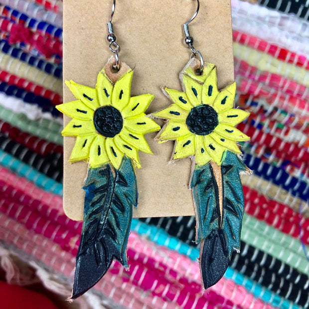 Sunflower Handmade Leather earrings