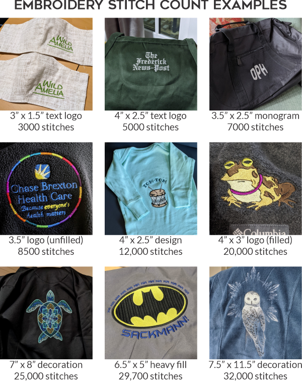 Chase Street Accessories & Engraving Embroidery Stitch Count Examples