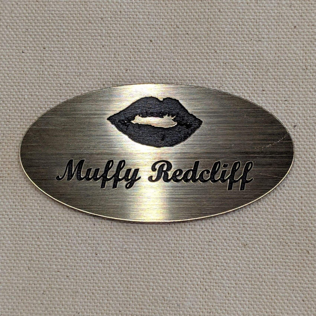 Acrylic Nametag - 3x1.5 Oval / Black lettering on gold - Bags & Apparel