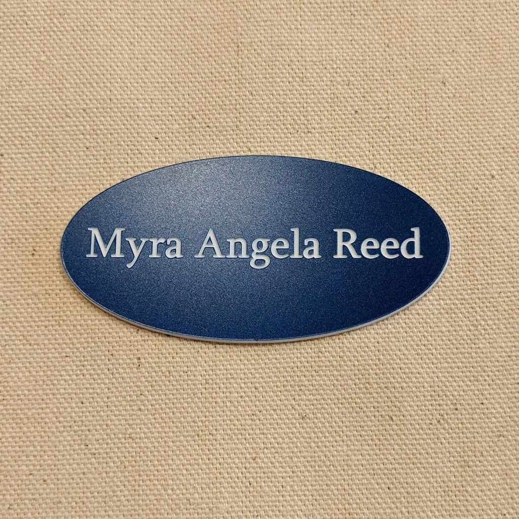 Acrylic Nametag - 3x1.5 Oval / White lettering on blue - Bags & Apparel