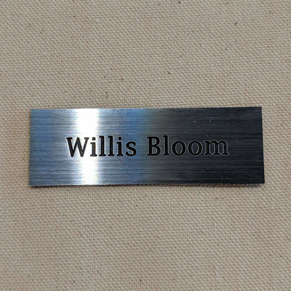 Acrylic Nametag - 3x1 Rectangle / Black lettering on silver - Bags & Apparel
