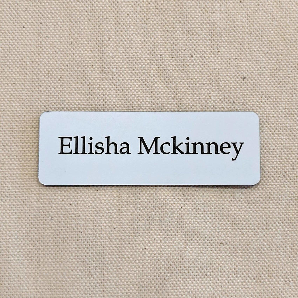 Acrylic Nametag - 3x1 Rectangle / Black lettering on white - Bags & Apparel