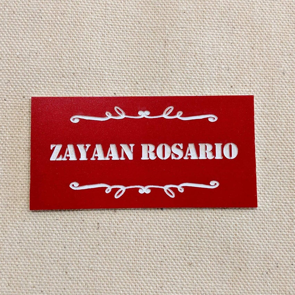Acrylic Nametag - 3x1.5 Rectangle / White lettering on red - Bags & Apparel