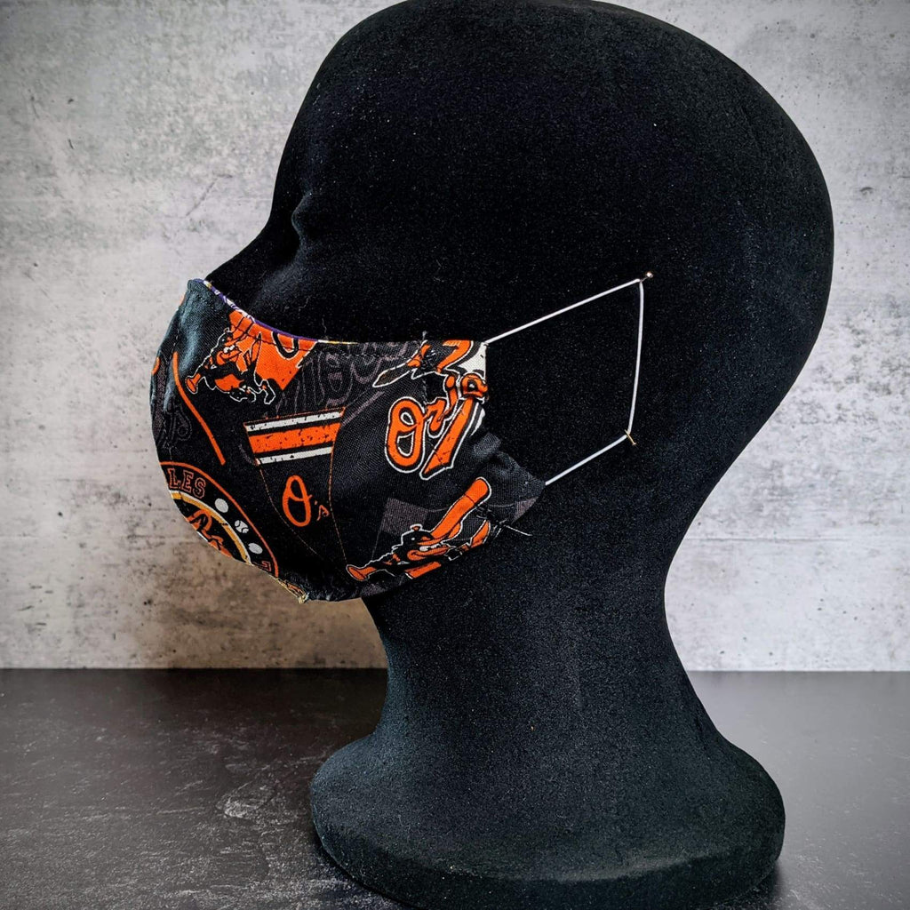 Baltimore Orioles/Ravens Cotton Face Mask with Filter Pocket - Medium / Orioles exterior & Ravens lining - Chase Street Originals