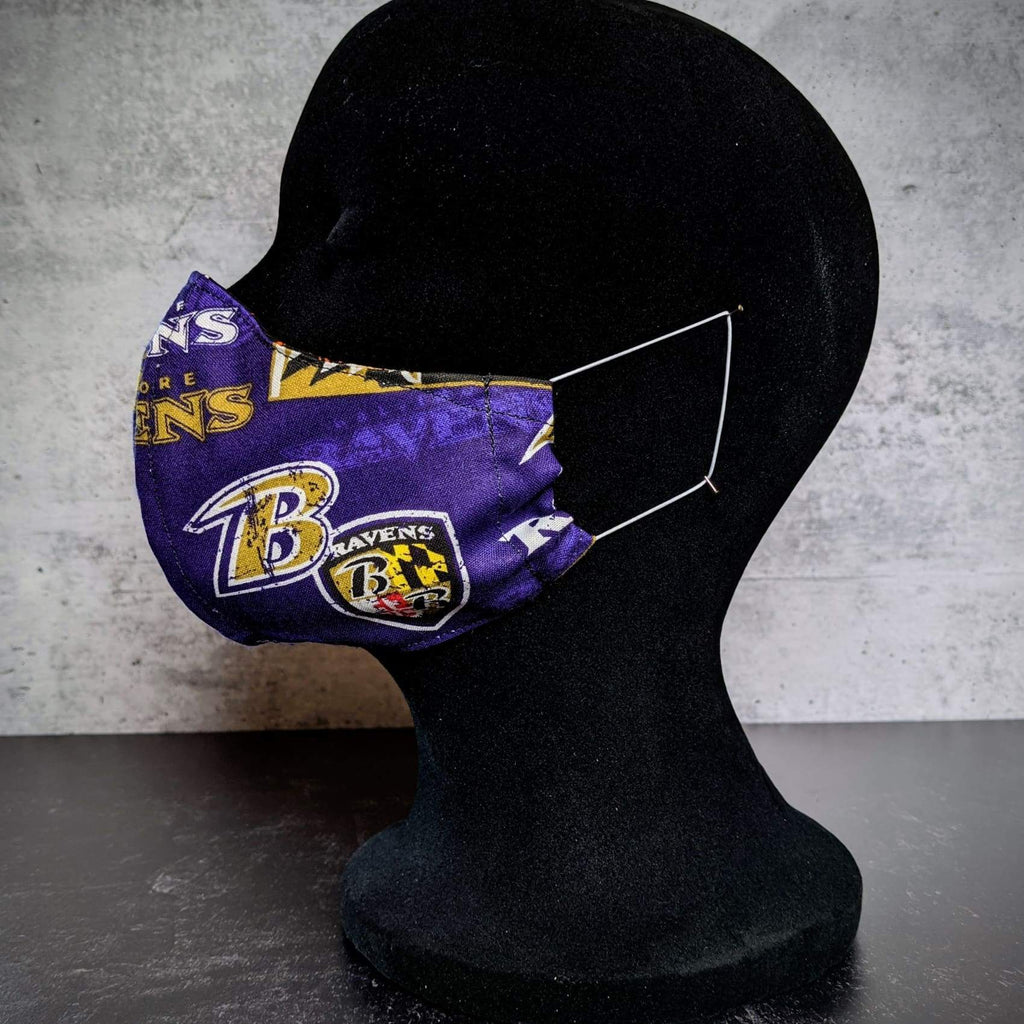 Baltimore Orioles/Ravens Cotton Face Mask with Filter Pocket - Medium / Ravens exterior & Orioles lining - Chase Street Originals