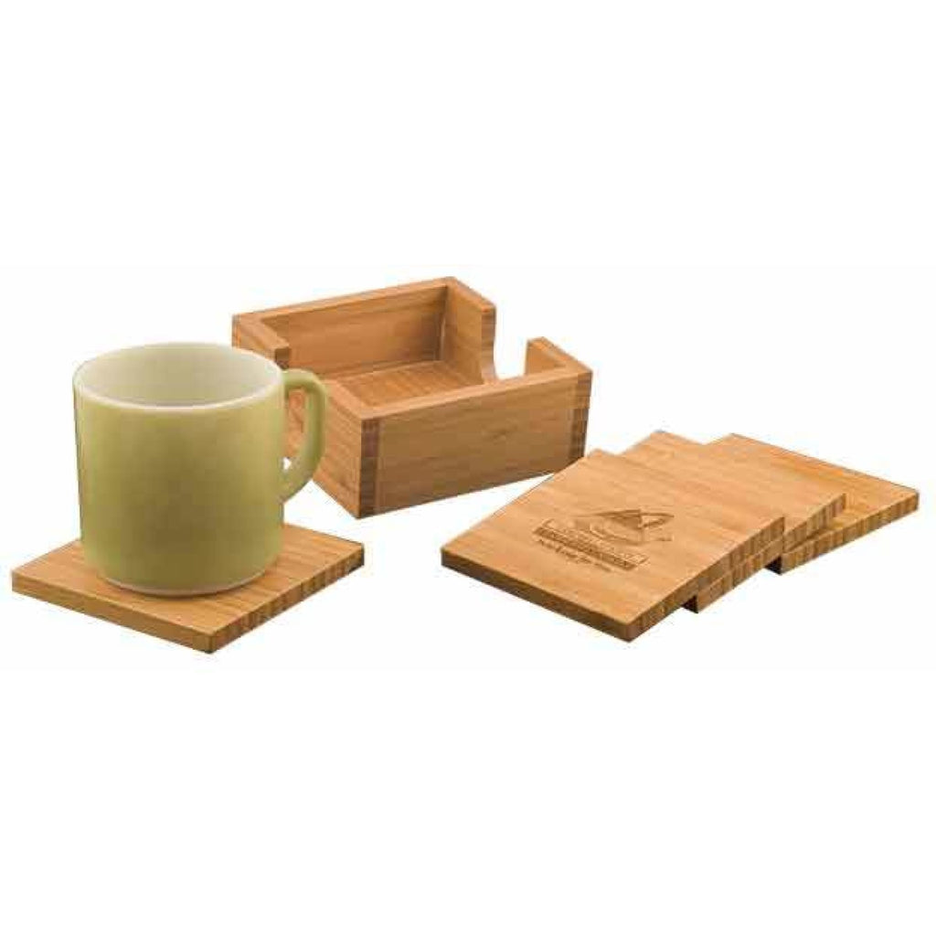 Bamboo Coaster Set with Holder - Drinkware