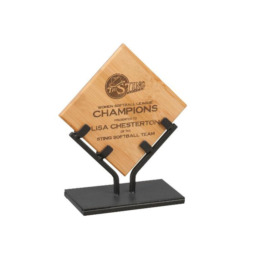Bamboo Plaque with Iron Stand - 7.75 - Plaques