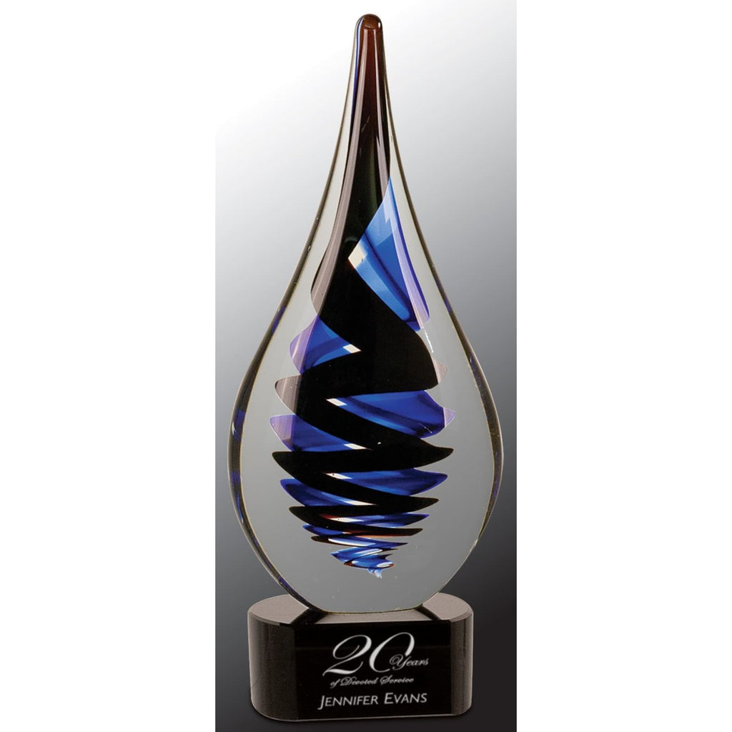Black Twist Raindrop Art Glass - Art Glass