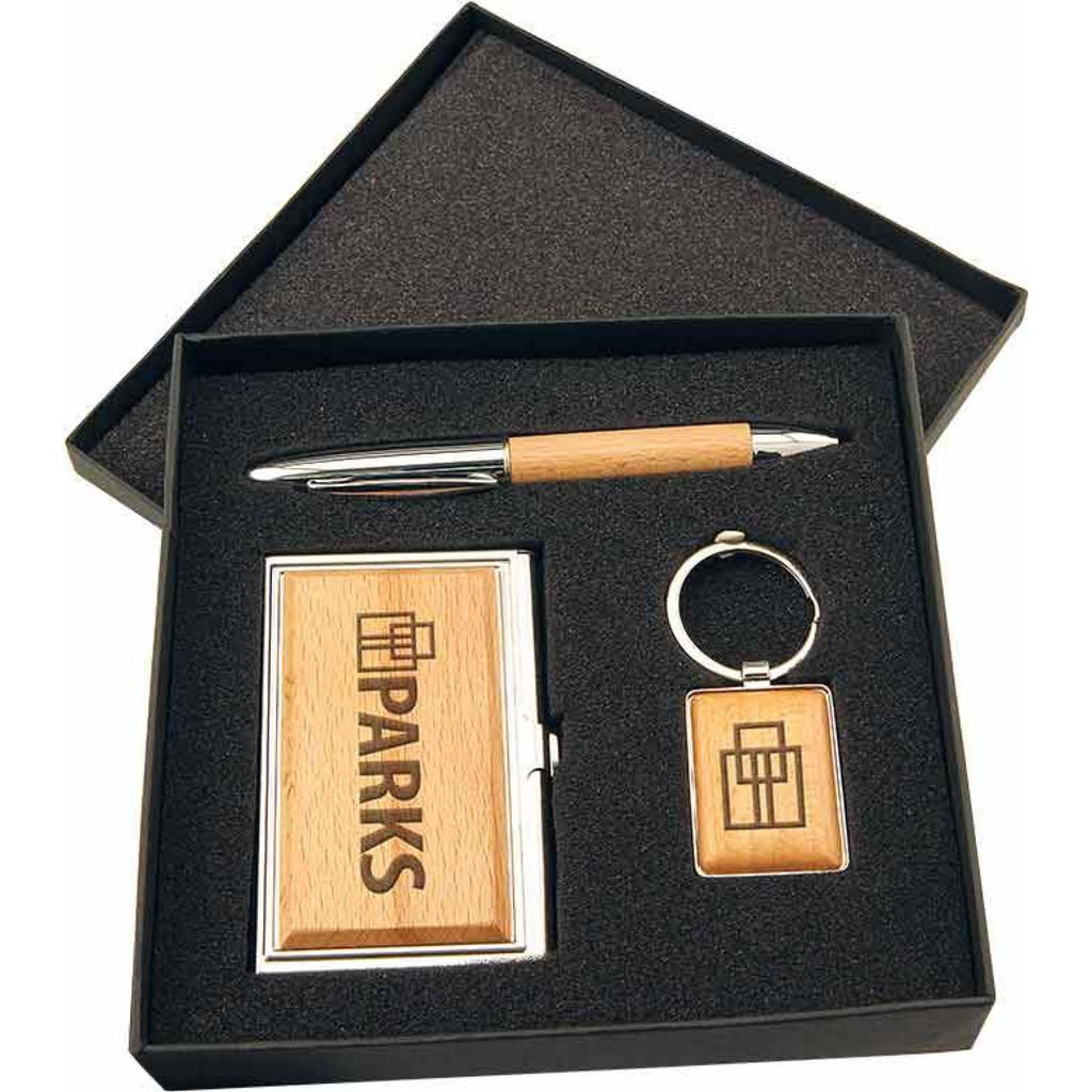 Business Card Case/Pen/Keychain Gift Set - Office Gifts