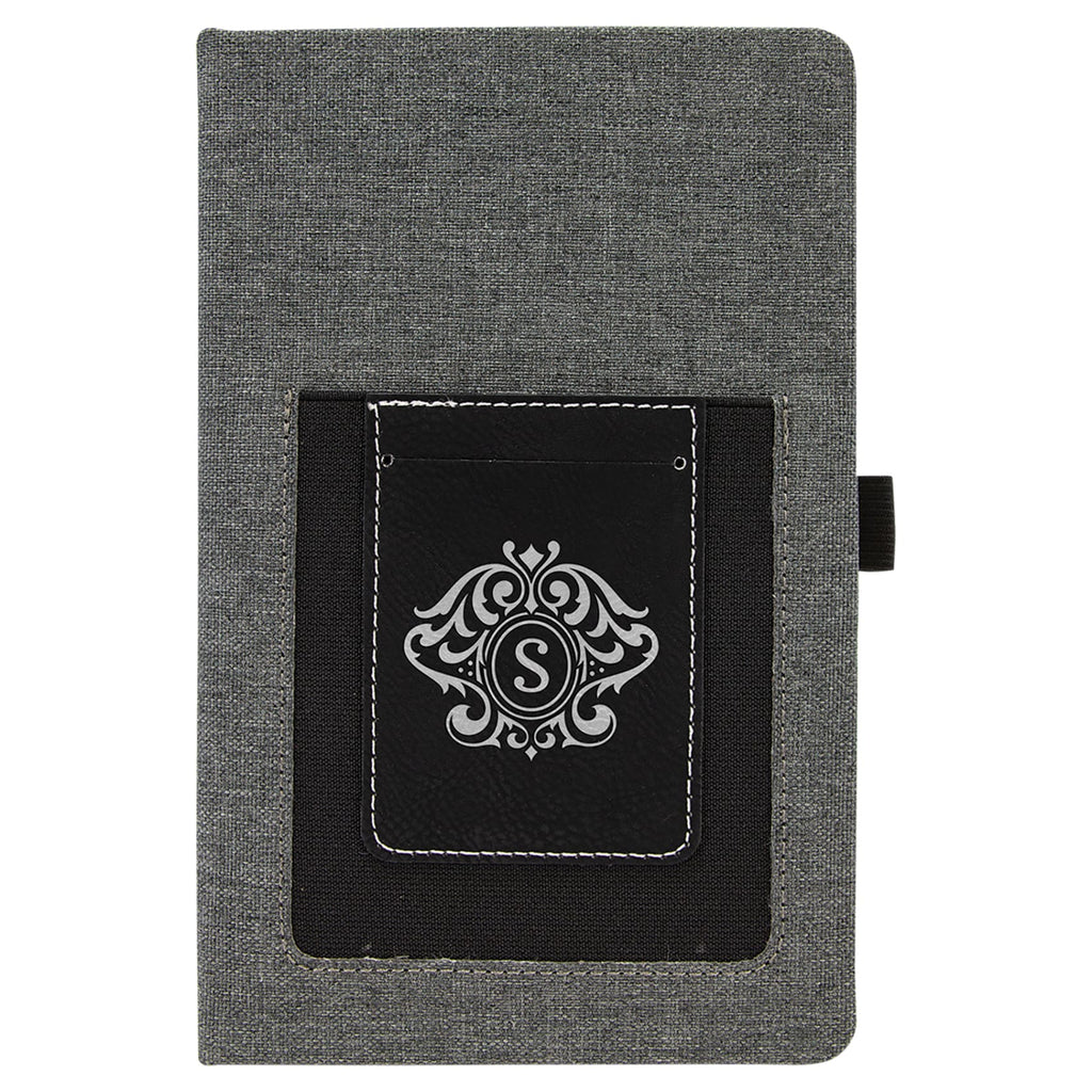 Canvas Journal with Vegan Leather Cell/Card Slot - Black | Silver - Office Gifts