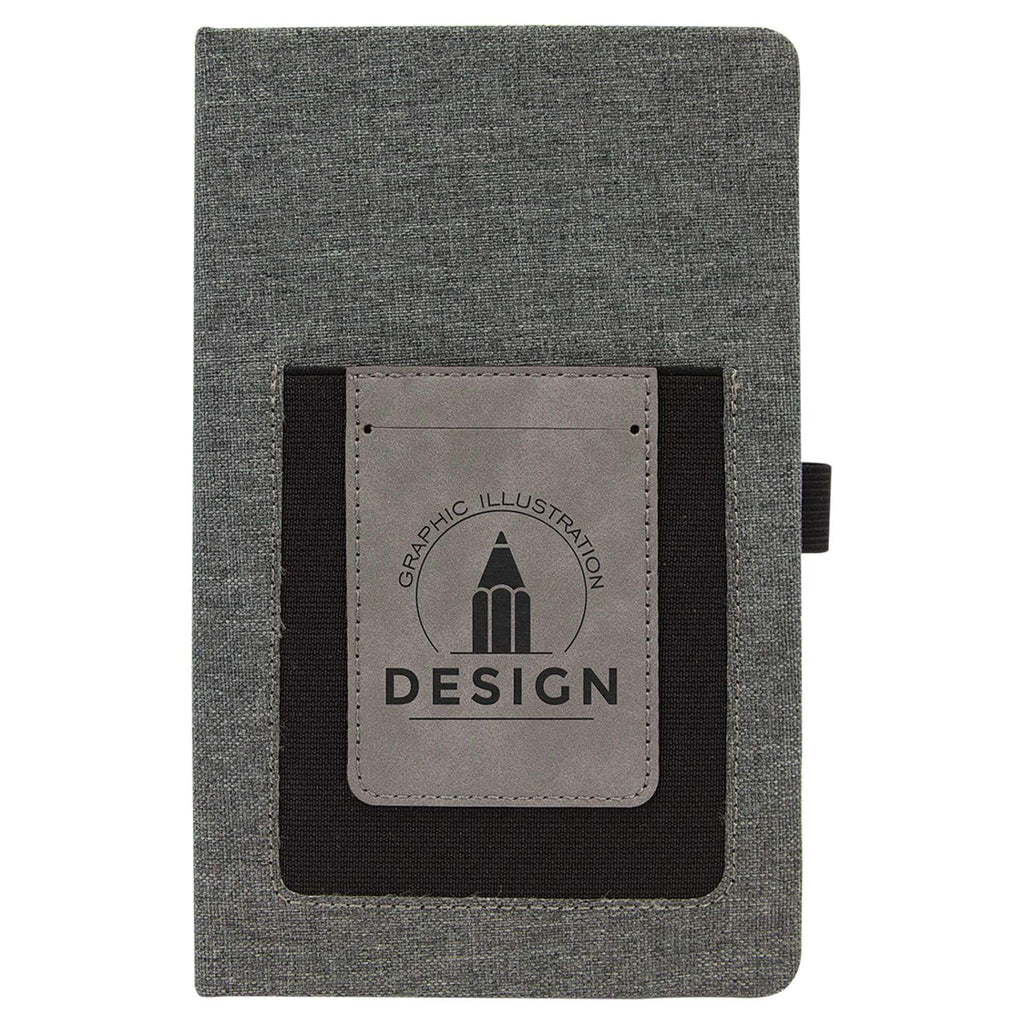 Canvas Journal with Vegan Leather Cell/Card Slot - Gray - Office Gifts