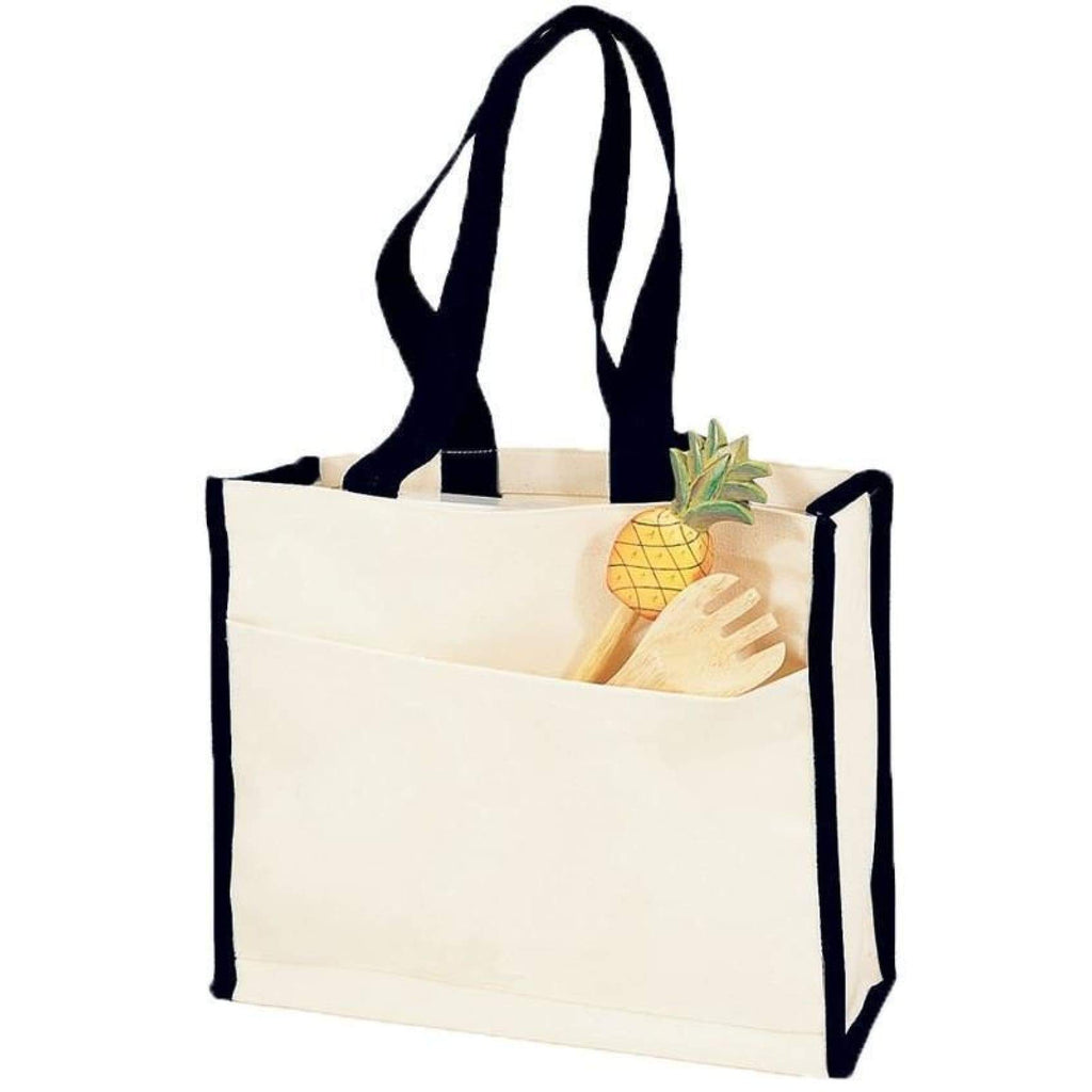 Canvas Tote with Premium Trim - Black - Bags & Apparel