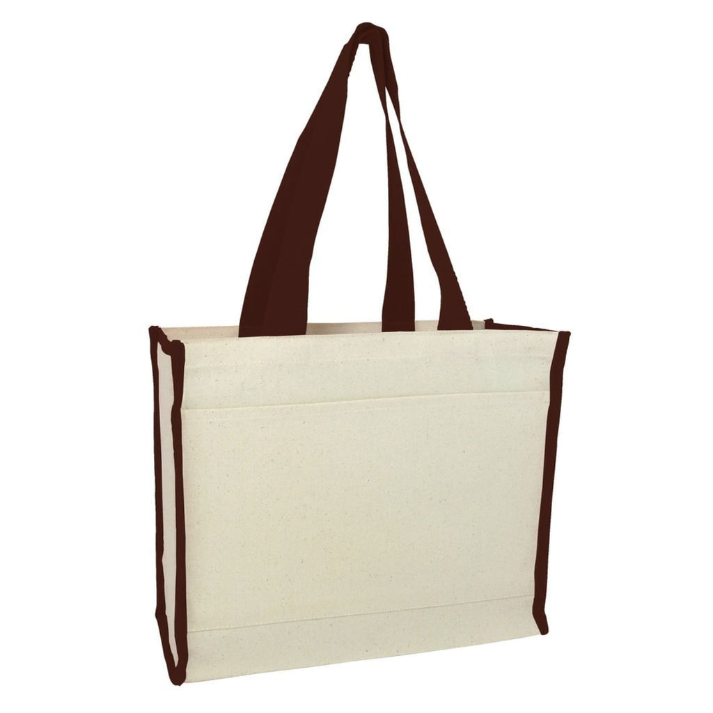 Canvas Tote with Premium Trim - Chocolate - Bags & Apparel