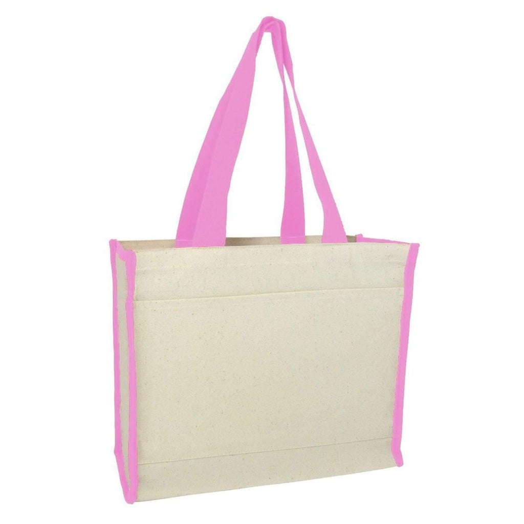 Canvas Tote with Premium Trim - Light Pink - Bags & Apparel
