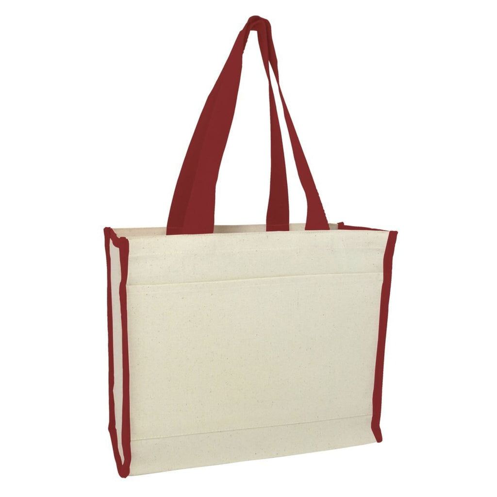 Canvas Tote with Premium Trim - Maroon - Bags & Apparel