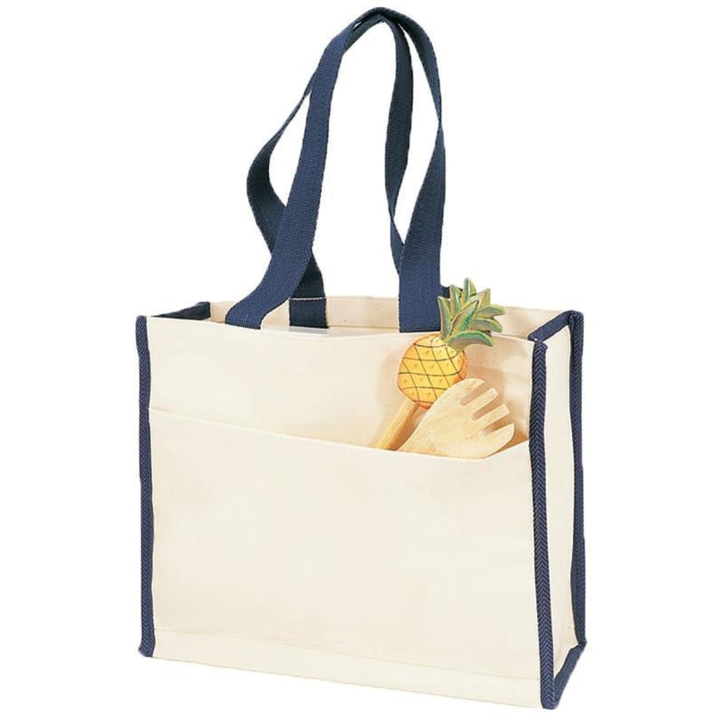 Canvas Tote with Premium Trim - Navy - Bags & Apparel