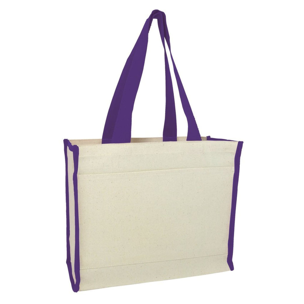 Canvas Tote with Premium Trim - Purple - Bags & Apparel