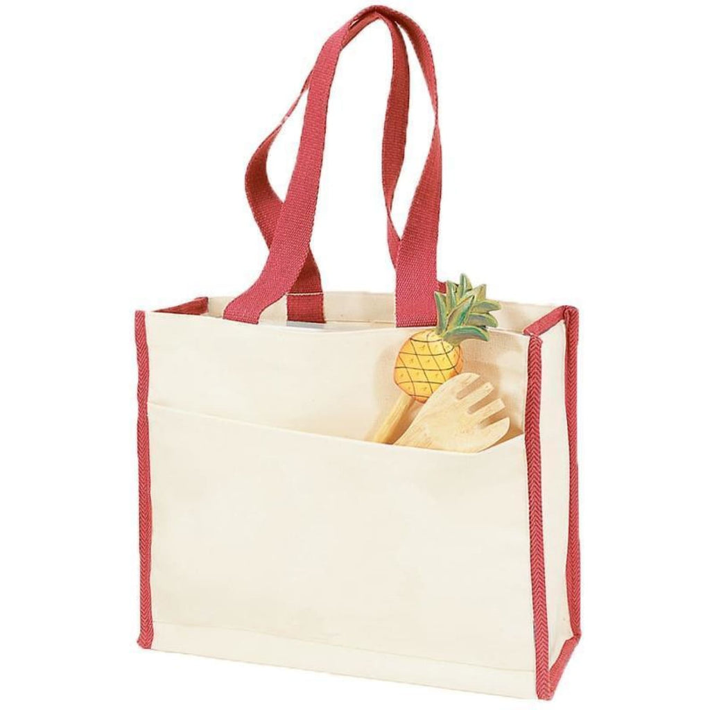 Canvas Tote with Premium Trim - Red - Bags & Apparel
