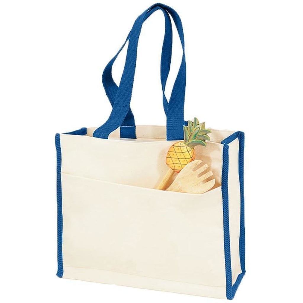 Canvas Tote with Premium Trim - Royal - Bags & Apparel