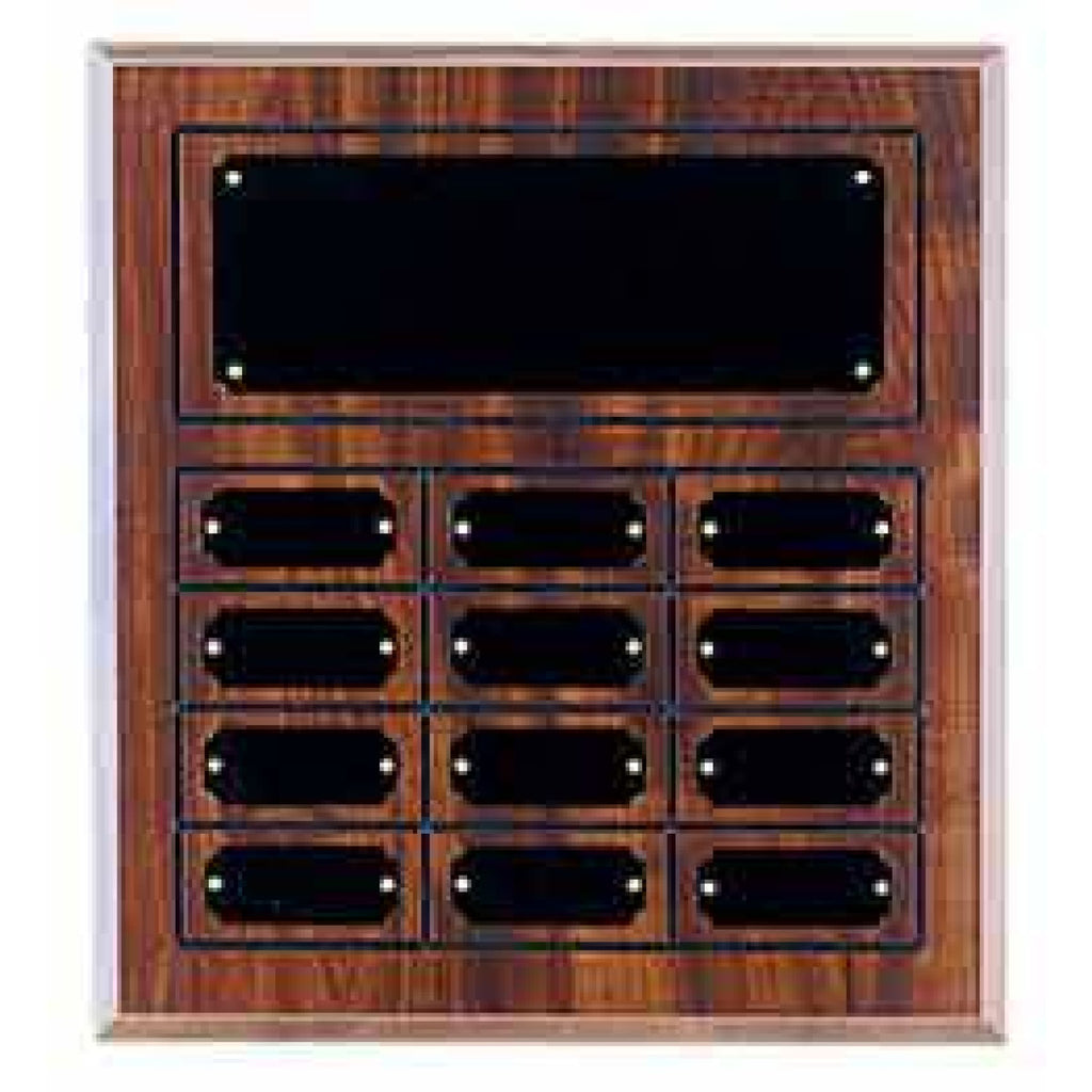 Cherry Finish Perpetual Plaque - 11 3/4 x 12 3/4 - 12 Plates - Plaques