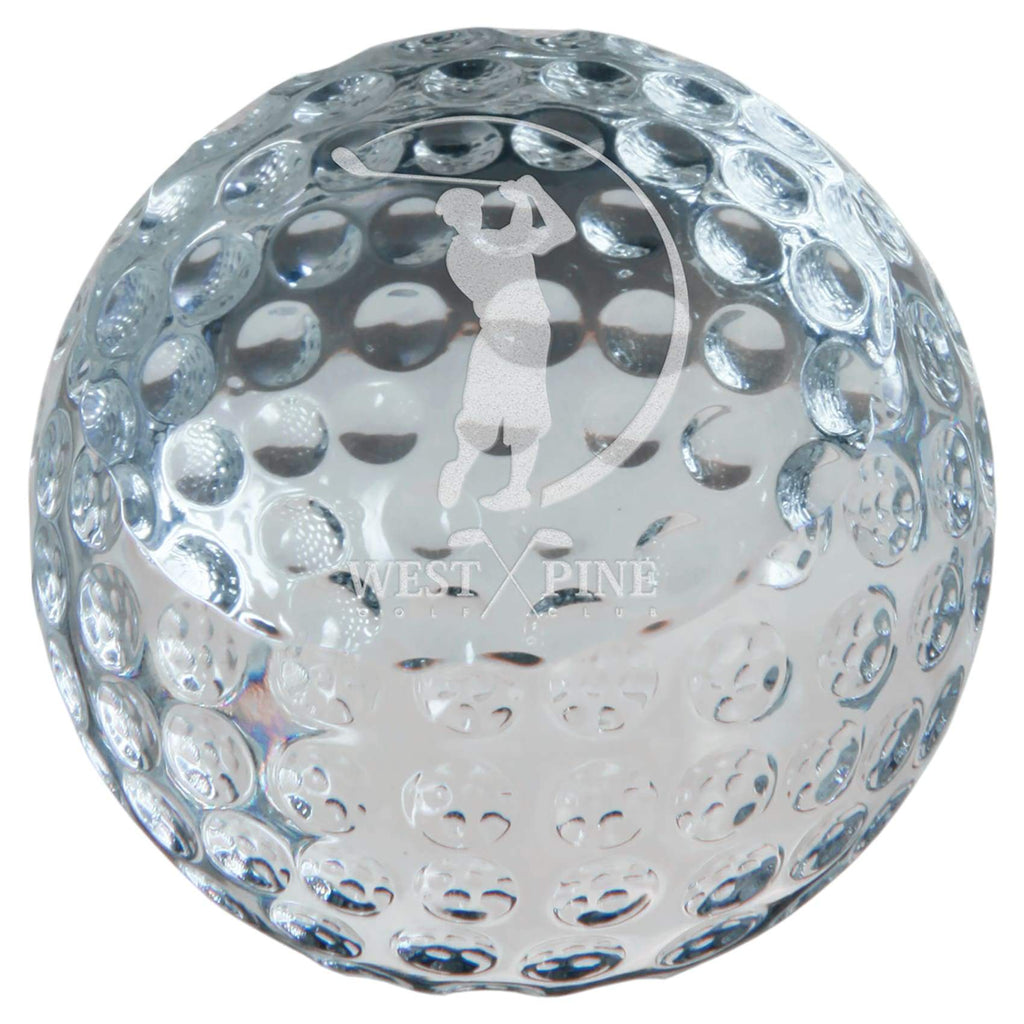 Crystal Golf Ball Paperweight - 2 3/8 - Office Gifts