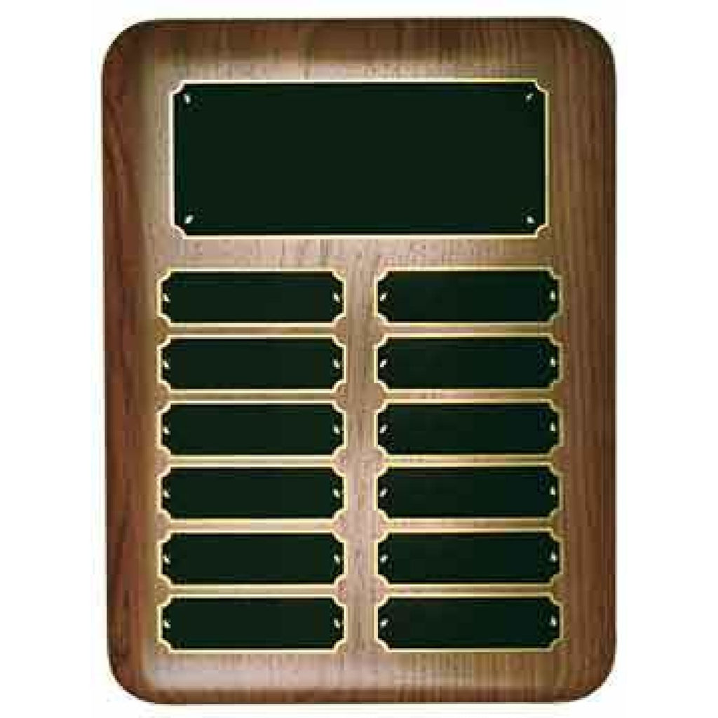 Elliptical Walnut Perpetual Plaque - 9 x 12 x 12 3/4 - 12 Plates - Plaques