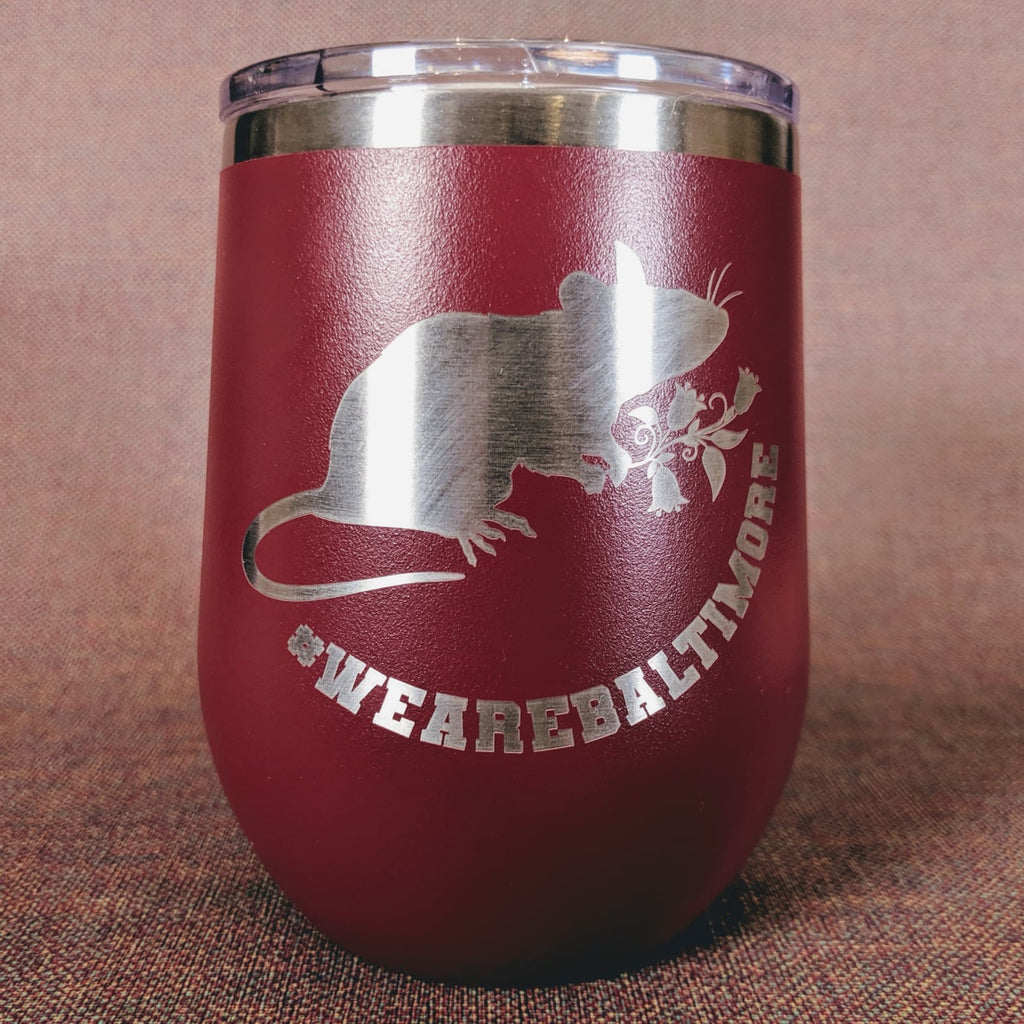 Flower Rat Stainless Steel Mug - Maroon - Chase Street Originals