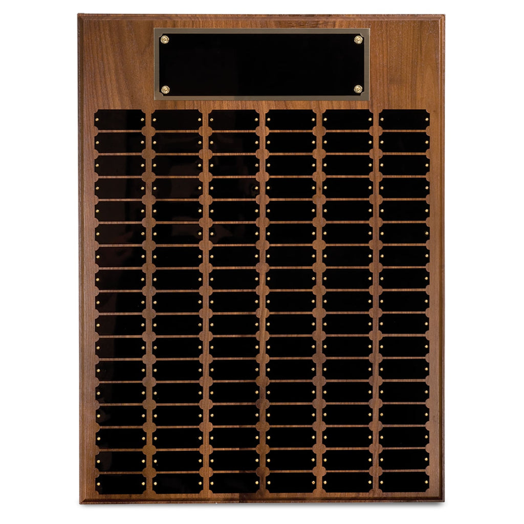 Genuine Walnut Perpetual Plaque - 18 x 24 - 102 Plates - Plaques