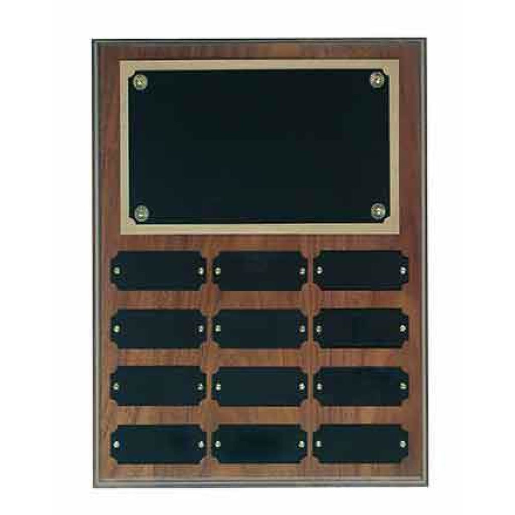 Genuine Walnut Perpetual Plaque - 9 x 12 x 12 3/4 - 12 Plates - Plaques